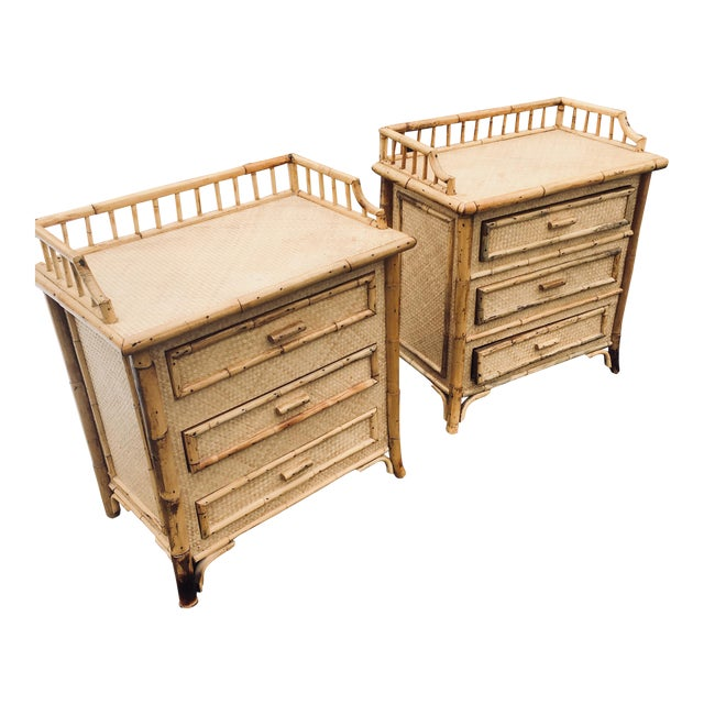 1970s Boho Chic Rattan Calif Asia and Cartel Nightstands - a Pair For Sale