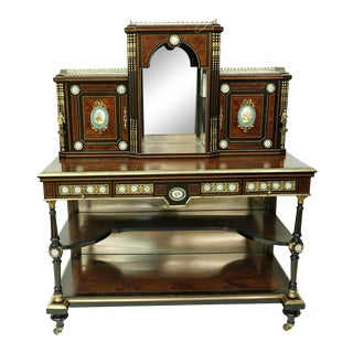 19th Century English Victorian Desk Limoes Plaques For Sale