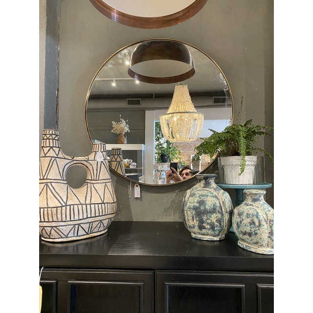 """Modern Contemporary Round 30"""" Brass Mirror For Sale - Image 3 of 6"""