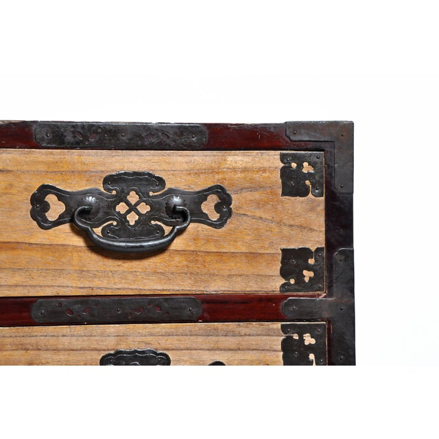 Japanese Two Piece Tansu Chest With Hand Forged Hardware For Sale - Image 10 of 13