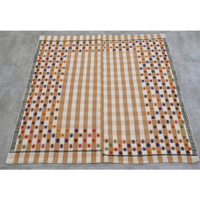 Vintage Hand Woven Kilim Rug. Turkish Cotton Kilim Sofreh Deco Rug - 4′11″ X 5′1″ For Sale - Image 9 of 11