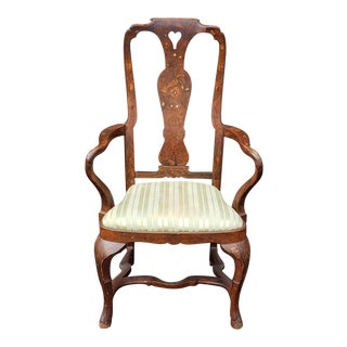 Antique Inlaid Walnut Dutch Marquetry Queen Anne Style Armchair C1890 For Sale