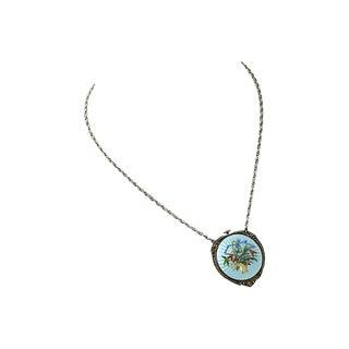 Antique Enamel Pendant Watch Necklace For Sale