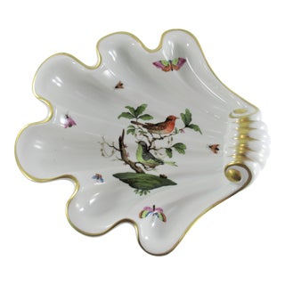 "Vintage Herend Hungary Rothschild Bird 9"" Shell Dish #7444 Hand Painted Porcelain For Sale"