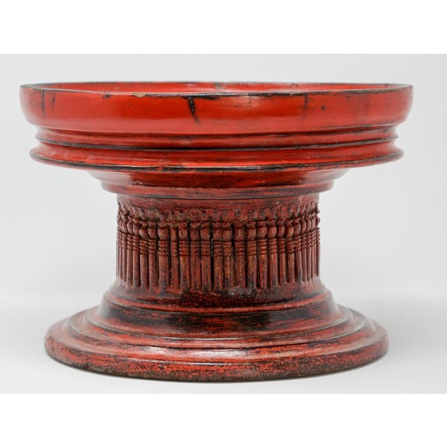 """Thai red lacquered temple offering box called """"Hsunok"""". Thai offering basket made of carved bamboo wood painted and..."""