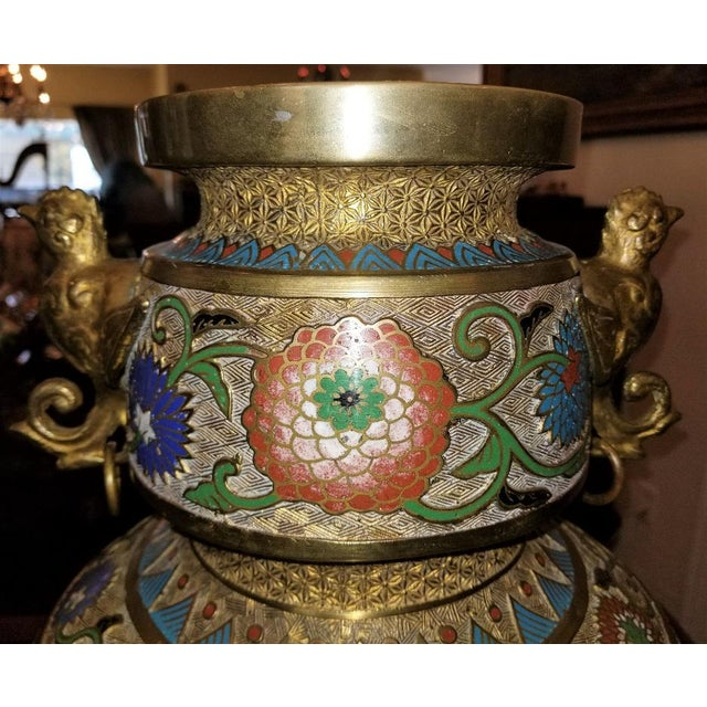 Asian Large Oriental Champleve Cloisonne Urn on Stand For Sale - Image 3 of 13