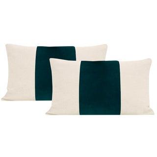 """12""""x 18"""" Peacock Velvet Panel & Linen Lumbar Pillows - a Pair For Sale"""