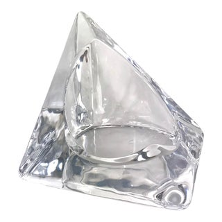 Nybro Sweden Pyramid Glass Pillar Candle Holder by Tord Kjellstrom For Sale