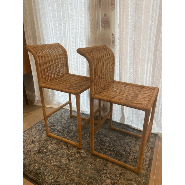 1970s Mid Century Modern Costal Boho Chic Wicker Bar Stools - a Pair For Sale - Image 5 of 13