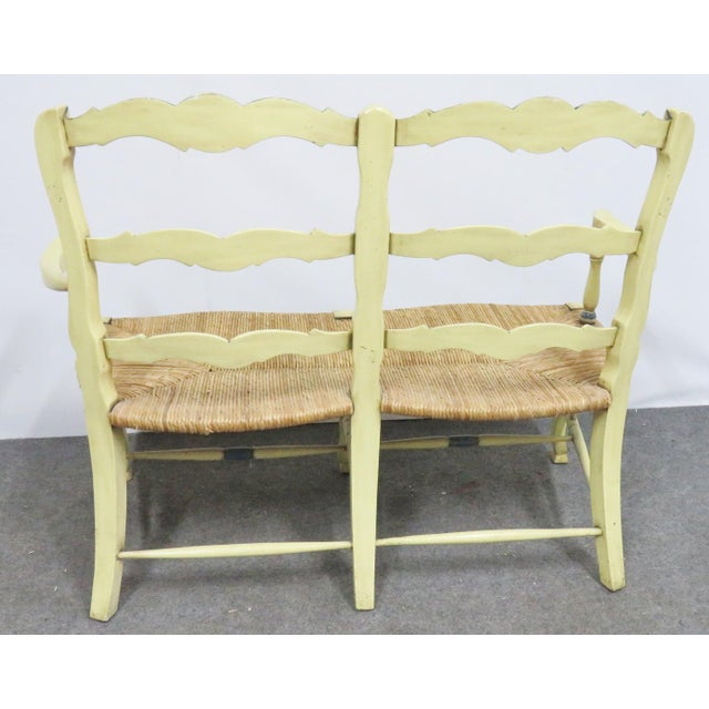 Country Country French Yellow Painted Rush Seat Settee For Sale - Image 3 of 7
