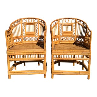 1970s Vintage Brighten Pavilion Asian Rattan Bamboo & Cane Chairs- a Pair For Sale