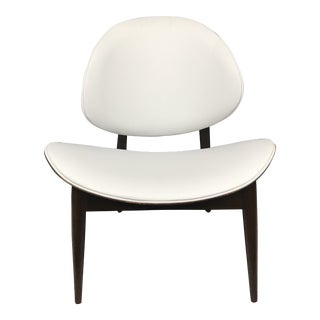 Mid Century Danish Modern Kodawood Seymour James Wiener White Leather Clam Shell Chair For Sale