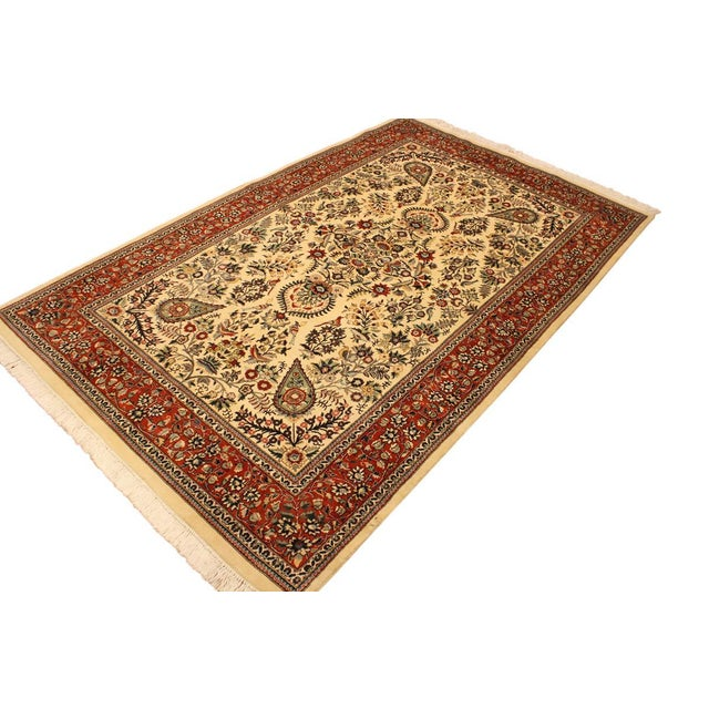 Asian Adil Pak-Persian Alexia Ivory/Rust Wool Rug - 5'1 X 8'2 For Sale - Image 3 of 8