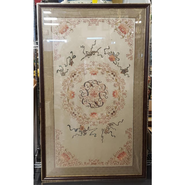 Early 20th Century Chinese Framed Embroidered Silk Panel For Sale In New Orleans - Image 6 of 6