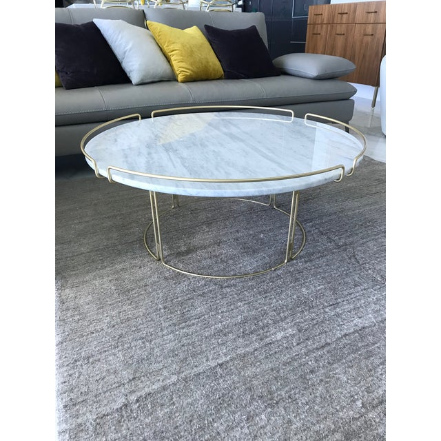 Contemporary Bijou Cocktail Table in Marble and Matte Gold by Roche Bobois For Sale - Image 3 of 13