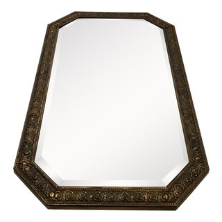 Antique English Brass Frame Mirror For Sale