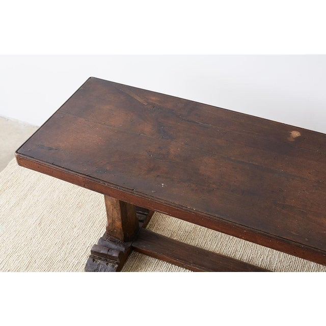 Rustic Italian Baroque Refectory Trestle Table For Sale - Image 11 of 13