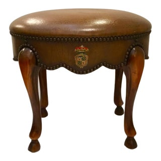 Vintage Traditional Oval Brown Leather Coat of Arms Stool For Sale