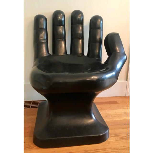 Black 1960's Vintage Friedeberg Style Black Fiberglass Hand Chair For Sale - Image 8 of 8