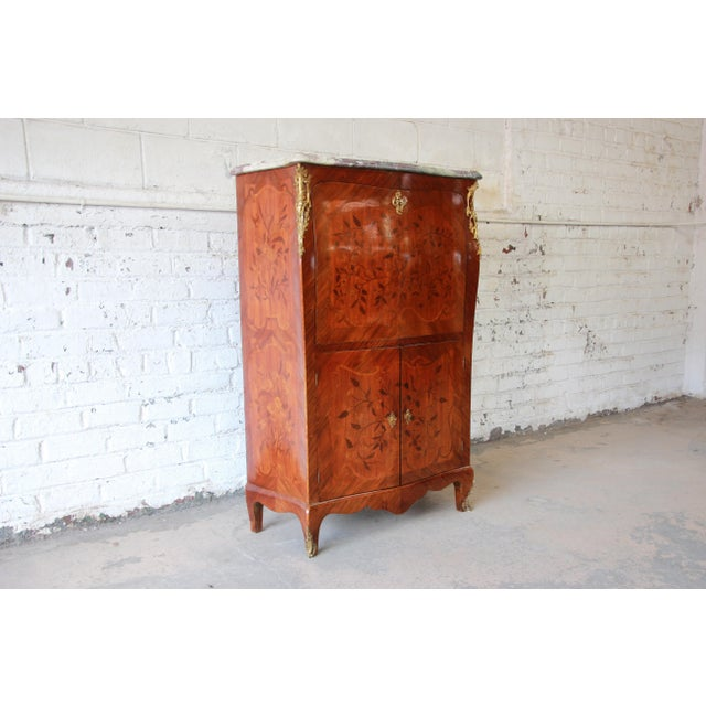 19th Century French Inlaid Marquetry Marble Top Abattant Secretaire For Sale - Image 13 of 13
