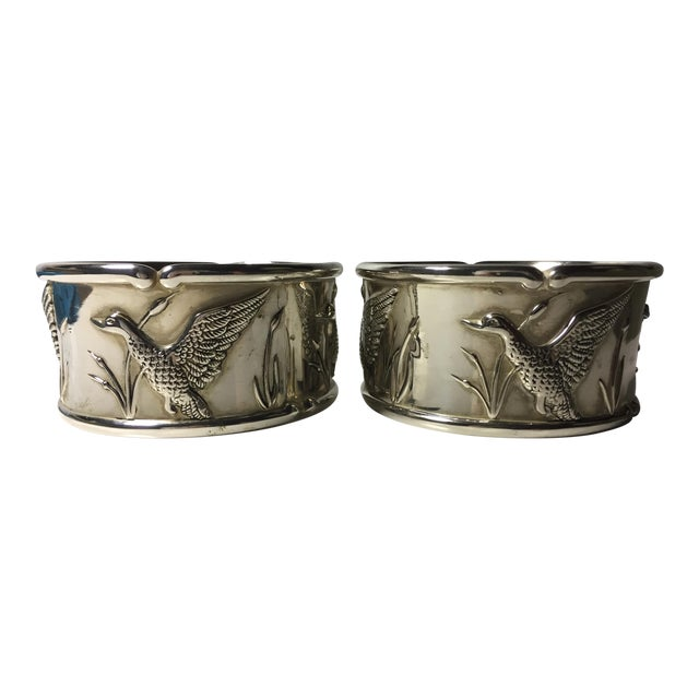 2 Vintage Silver Wine Coasters-Duck Hunting - Image 1 of 5
