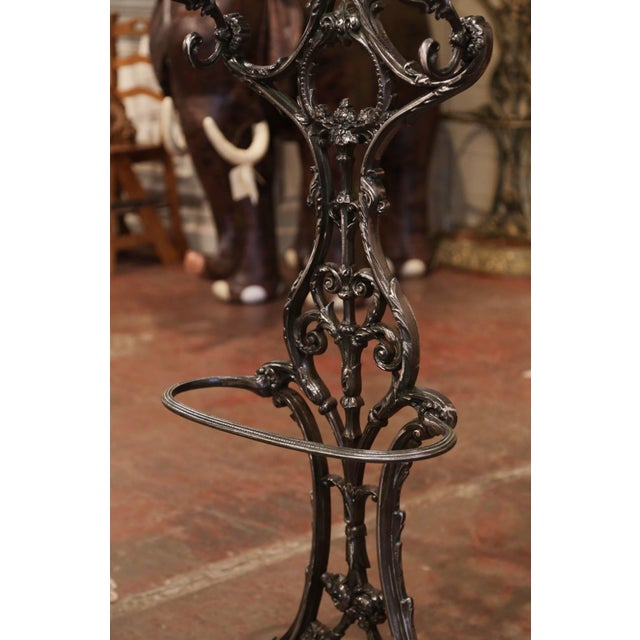 19th Century French Polished Cast Iron Hall Stand Signed Allez Freres, Paris For Sale - Image 9 of 13