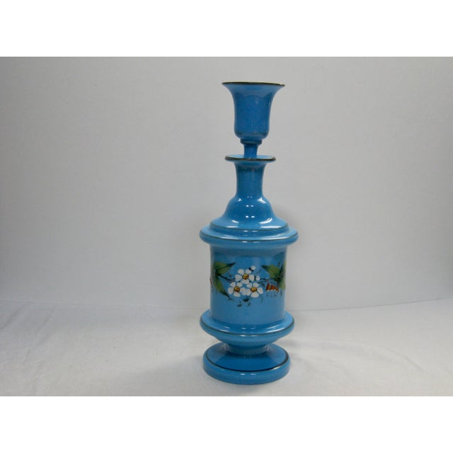 Antique Victorian rare hand blown hand painted French blue opaline floral decanter with cordial stopper. Bottom has dimple...