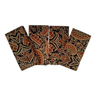 Vintage African Print Fabric Dinner Napkins - Set of 4
