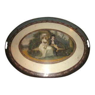 18th C. American Oval Painted Tole Tray For Sale