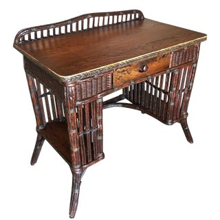 Restored Antique Wicker and Mahogany Secretary Desk With Side Shelving For Sale