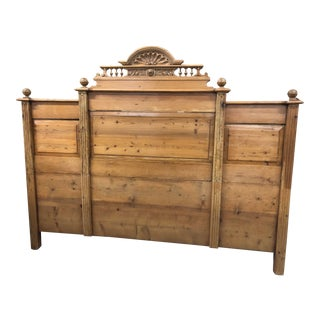 Country French Style Pine King Headboard For Sale