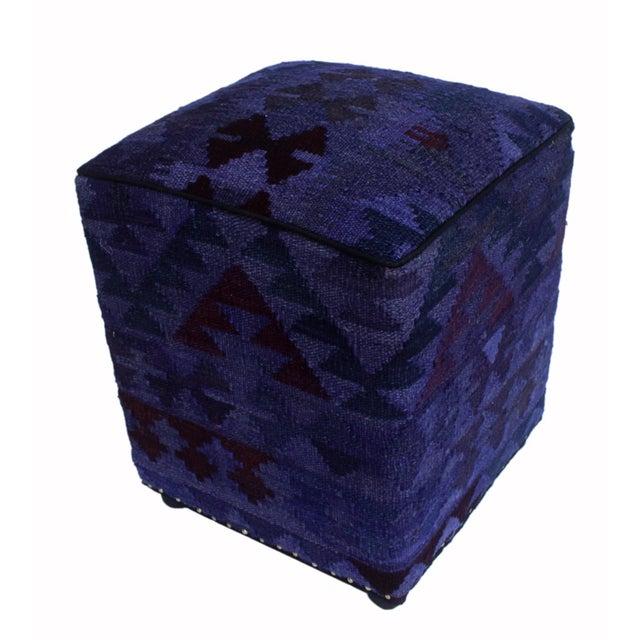 Wood Arshs Delsie Purple/Drk. Gray Kilim Upholstered Handmade Ottoman For Sale - Image 7 of 8