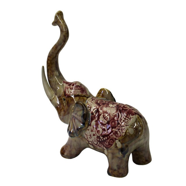 Contemporary Brown Ceramic Elephant Figure For Sale - Image 3 of 6