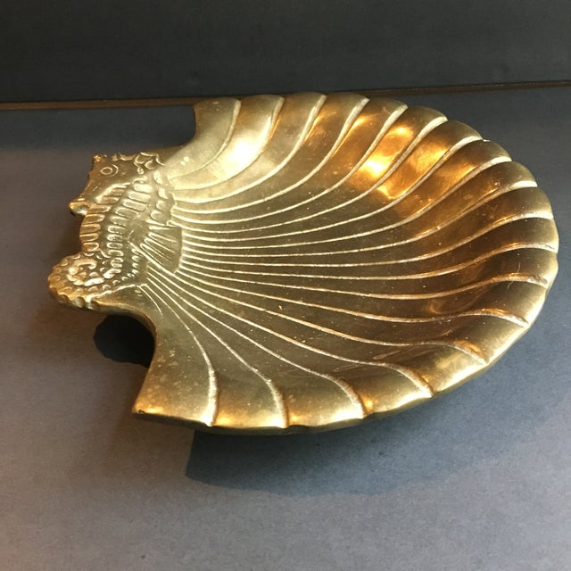 Heavy cast brass decorative dish / bowl with seashell & seahorse motif. Vintage 1970s-80s. Old PENCO label on base. Great...