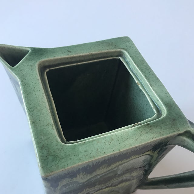 California Green Ceramic Drip Glaze Pitcher For Sale - Image 10 of 11