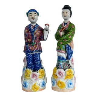 Chinese Famille Rose Figures - a Pair For Sale