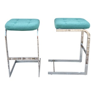 Mid-Century Modern Cantilevered Chrome Barstools by Design Institute America - A Pair For Sale