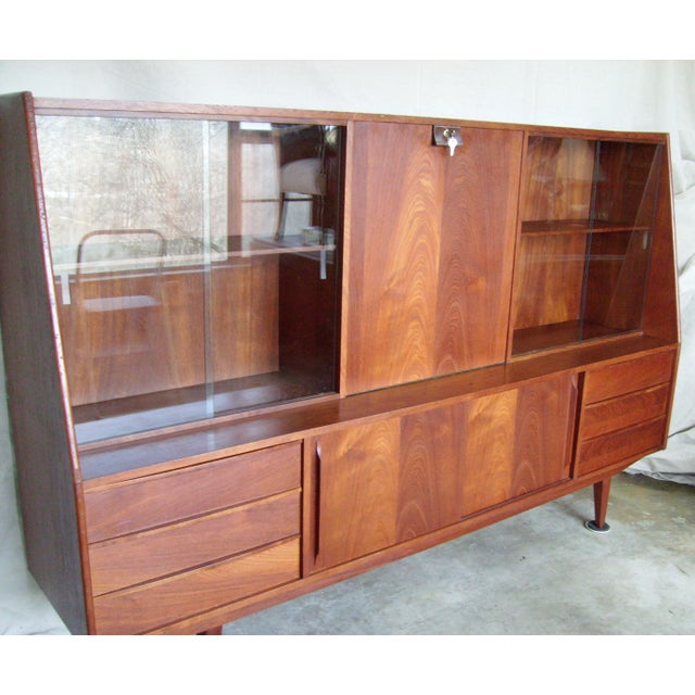 Contemporary 7 Ft. Mid-Century Danish Modern Teak Credenza Dry Bar Hutch For Sale - Image 3 of 12