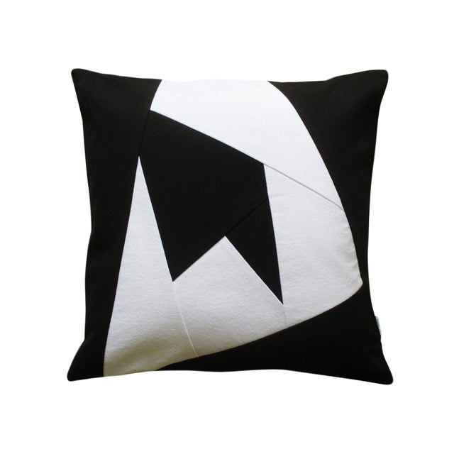 Black & White Geometric Design Throw Pillow Case - Image 1 of 2