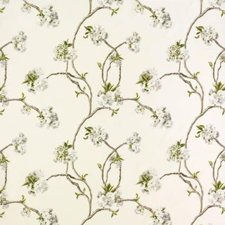 Osborne & Little Mauve Orchard Blossom Linen Fabric - 1 Yard For Sale
