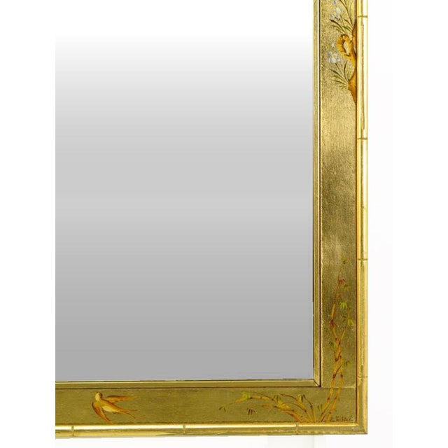 "Asian 50"" LaBarge Hand Painted & Gilt Beveled Wall Mirror For Sale - Image 3 of 6"