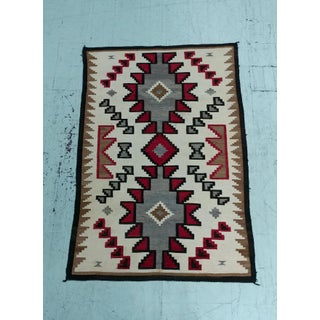 Navajo Hand Woven Wool Rug w/Beautiful Red & Brown Geometrics