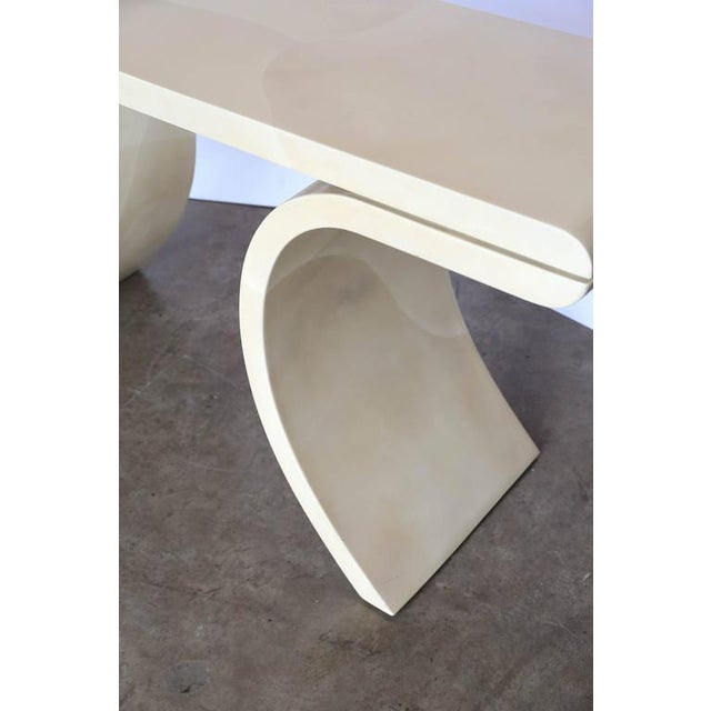 Mid Century Modern Lacquered Goat Skin Console Table in the Manner of Karl Springer - Image 3 of 10