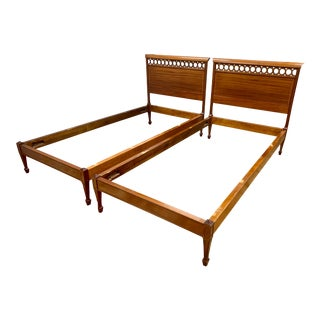 Pair of Margolis Boston Mahogany Inlay Twin Beds Headboards For Sale