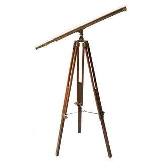 Brass and Wood Tripod Telescope