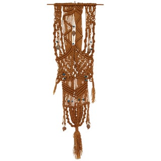 1970s Macrame Wall Hanging With Clay and Azure Beads For Sale