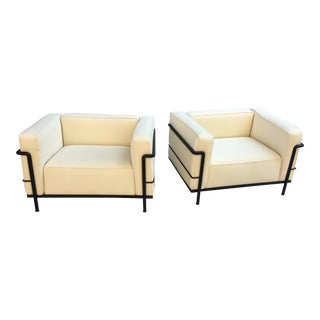 Le Corbusier for Cassina Lc-3 Lounge Chairs - a Pair For Sale