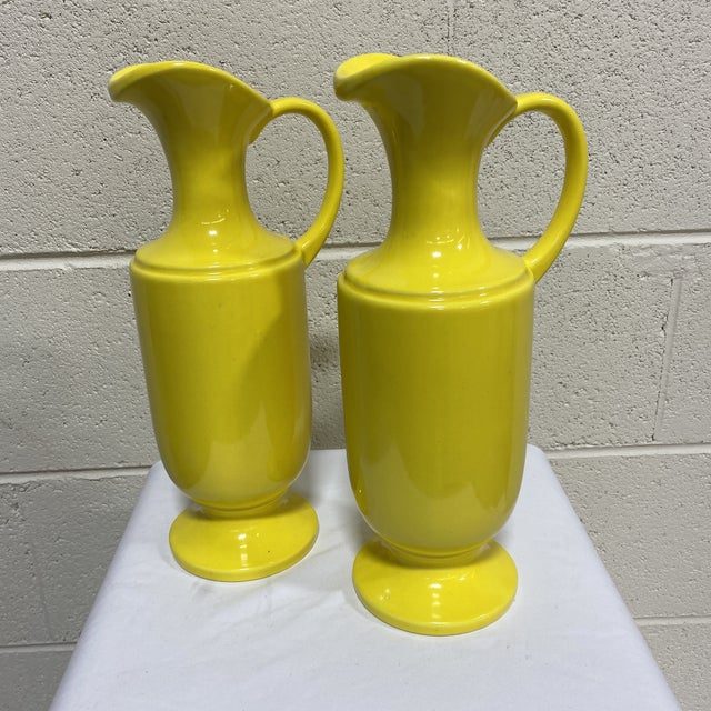 Haeger Canary Yellow Ceramic Pitchers - a Pair For Sale - Image 9 of 10