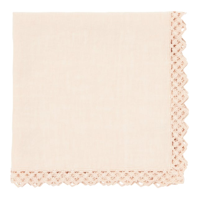 Once Milano Linen Napkin With Macramé in Cream For Sale