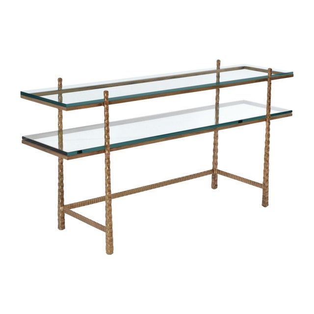 Early 21st Century Tuscan Glass and Gold Console Table For Sale - Image 5 of 5